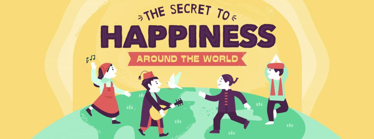A preview of the The Secret to Happiness Around the World infographic