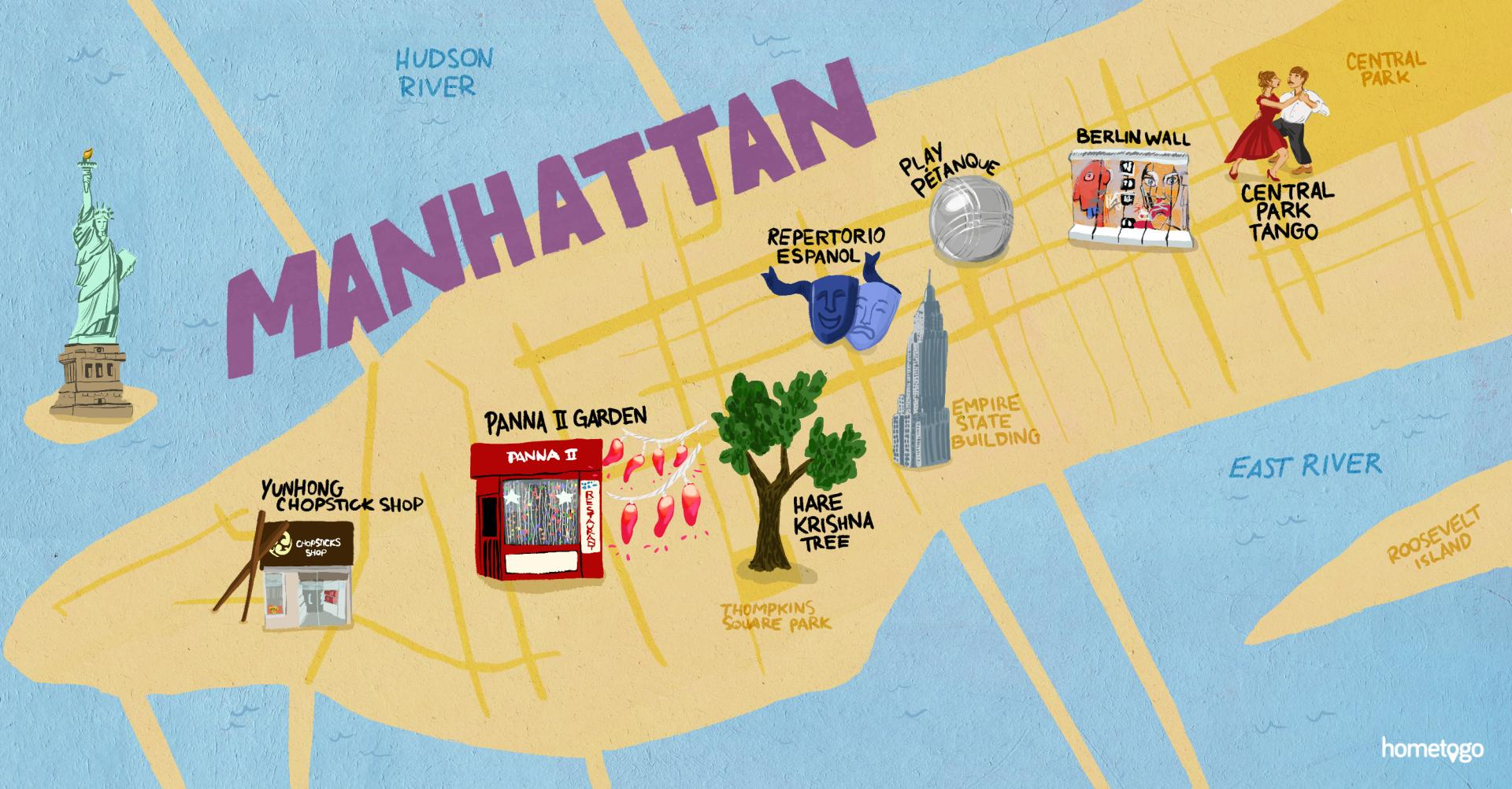 hand drawn map of manhattan featuring 7 original must-sees of this  neighborhood