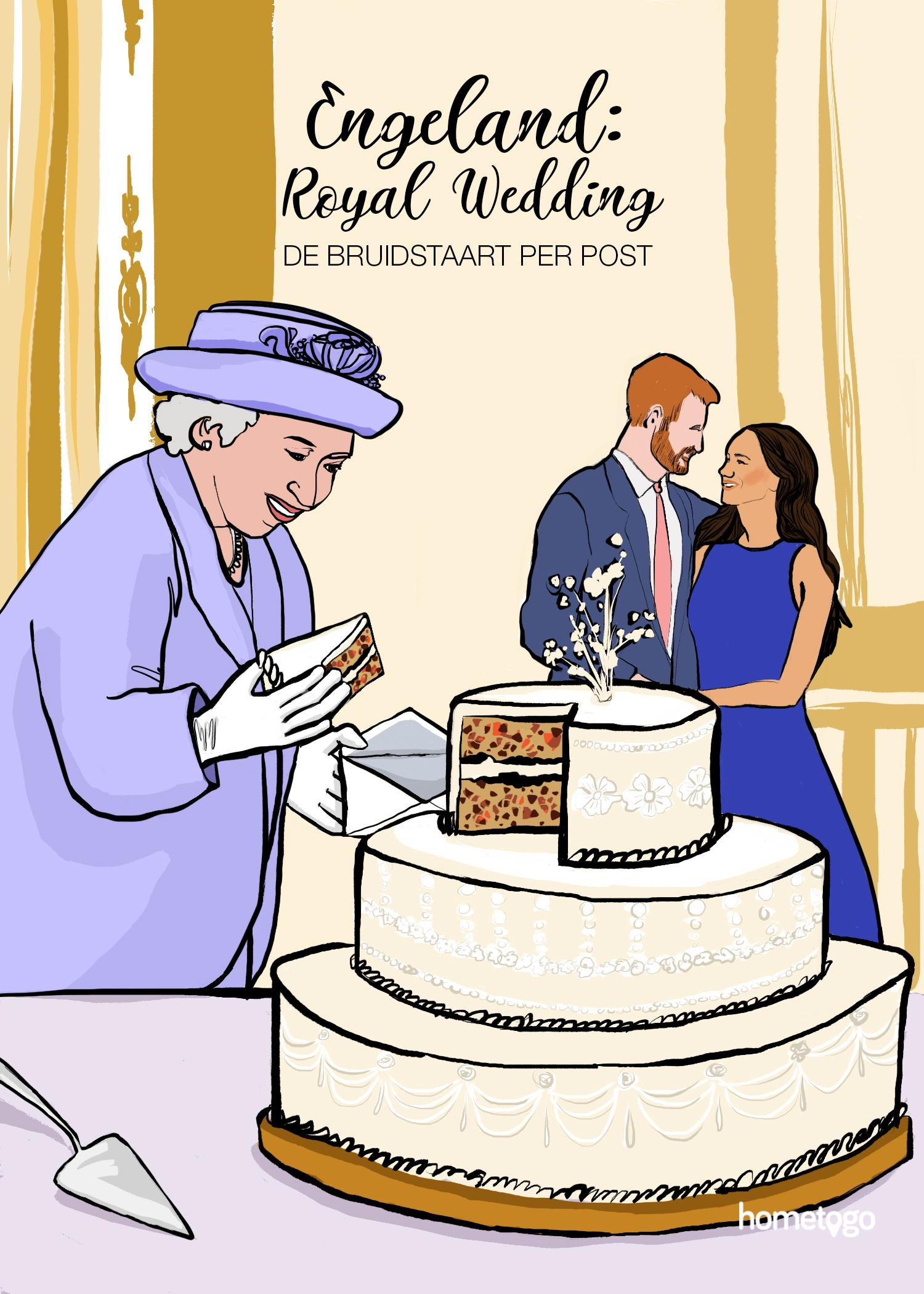 Illustration featuring the wedding custom from the royal wedding, where attendees are mailed a piece of cake after the celebration