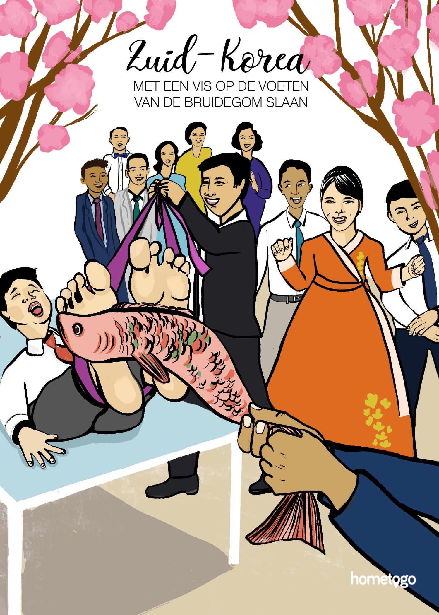 Illustration featuring the wedding custom from Korea, where friends slap the feet of the groom with a fish