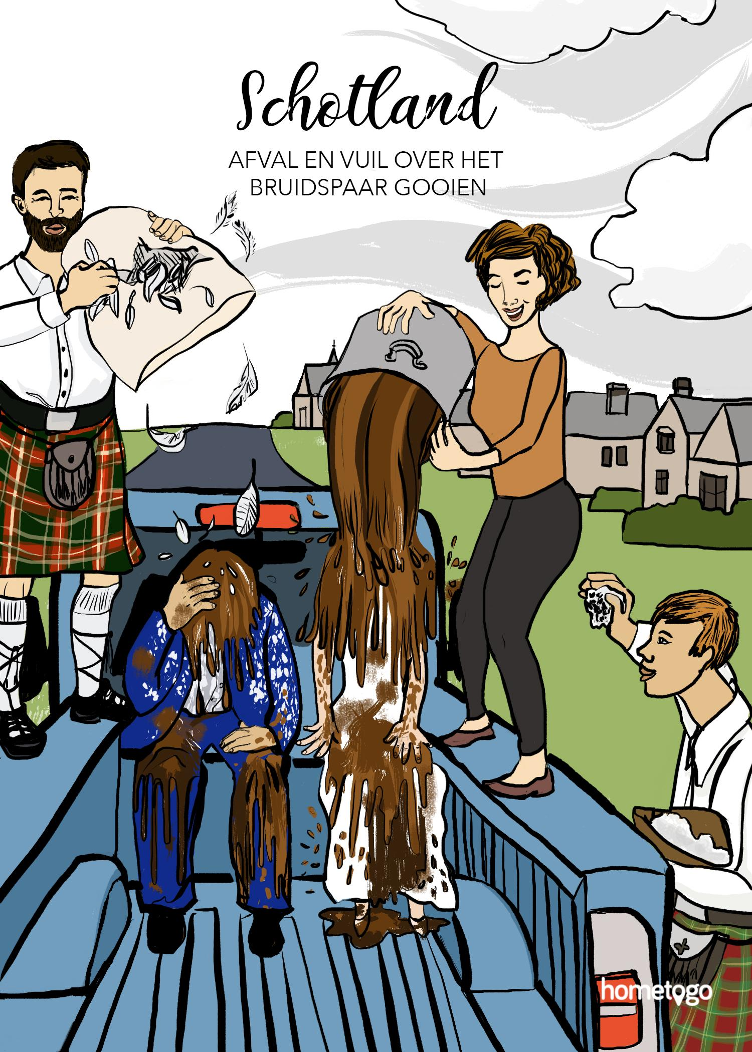 Illustration featuring the wedding custom from Scotland, where the groom and the bride get thrown dirt before the wedding