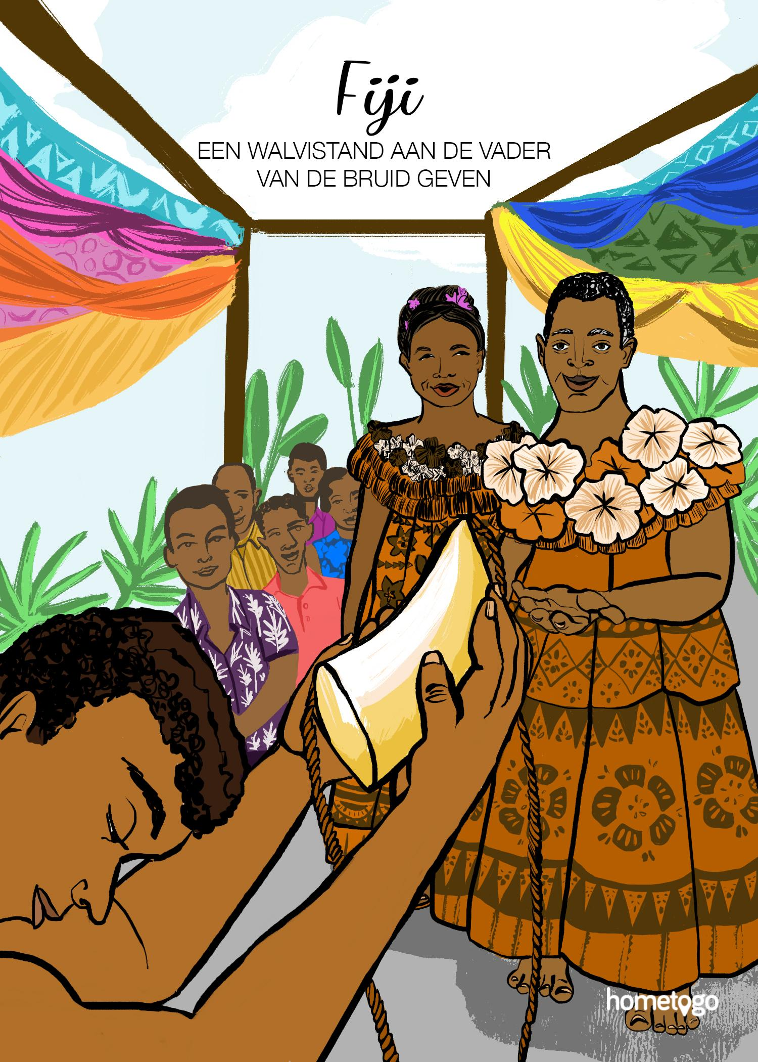 Illustration featuring the wedding custom from Fiji, where the groom has to offer a whale tooth to the bride's father