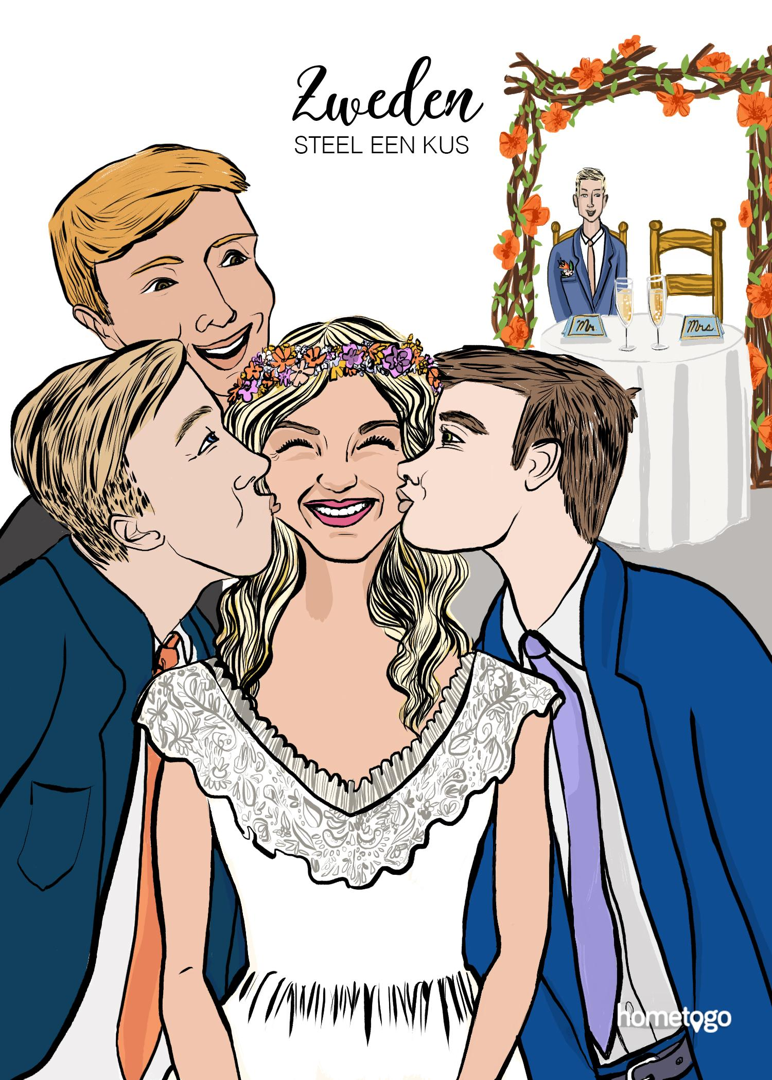 Illustration featuring the wedding custom from Sweden, where attendees steal kisses to the newlyweds