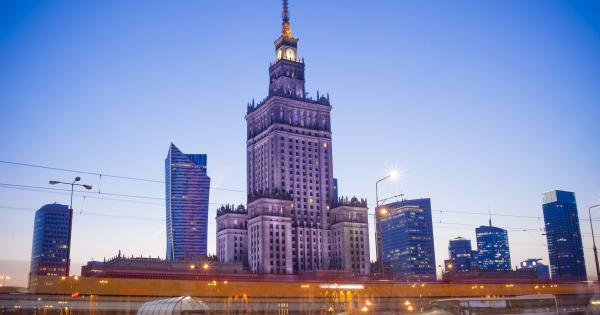 View of Warsaw skyline with a blue sky backdrop