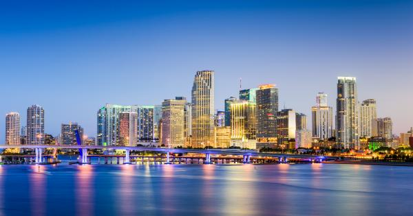 View of the Miami skyline at night