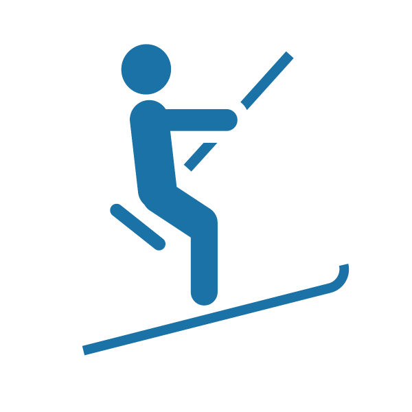 An icon of a skier on a drag lift at a ski resort, in the color blue