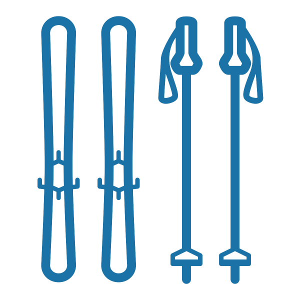 Skis and poles icons, in the color blue