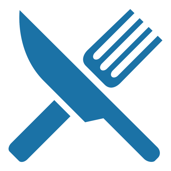 An icon of a knife and fork, in the color blue
