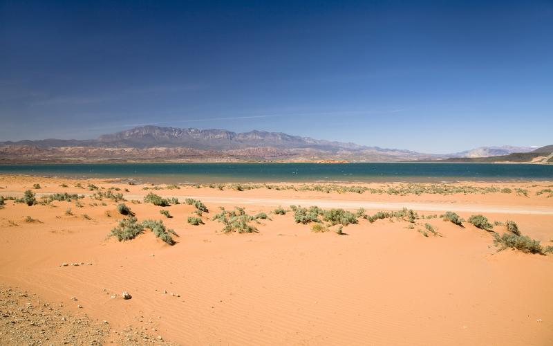 View of desert land near Sand Hollow, Utah