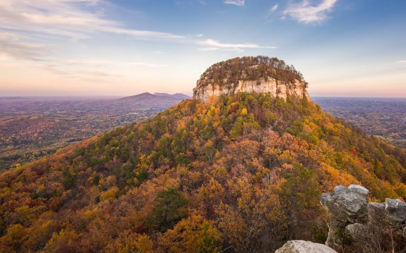 View of Pilot Mountain in North Carolina