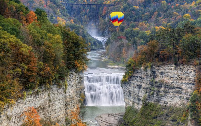 View of the waterfall in Letchworth State Park