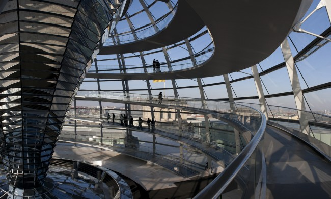 View inside the Reichstag Dome