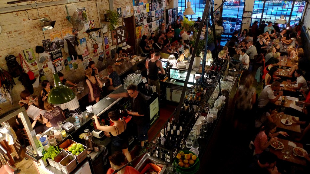 A packed bar in Fitzroy, Melbourne