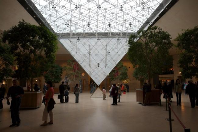 An inverted pyramid in the Louvre museum