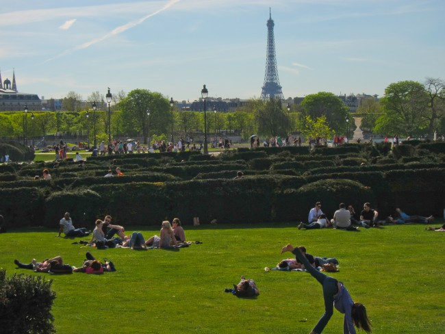 Les Jardins des Tuileries in Paris with Eiffel Tower