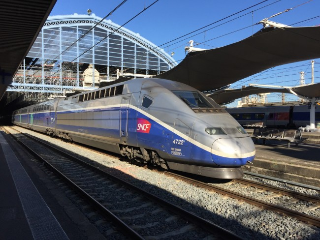 TGV train in a French railway station