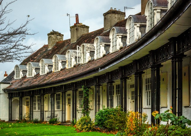 Pretty row of houses at Port Sunlight on the Wirral
