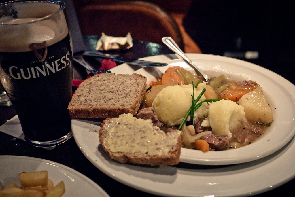 Irish Stew, Soda Bread and a Pint of Guinness.