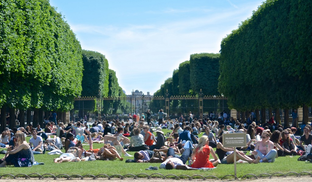 Top Tip: Jardin du Luxembourg Sitting on the green chairs that fill with snoozing Parisians throughout the warmer months is one of Paris's great pleasures. The park is known for its perfectly-trimmed lawns, tree-lined promenades and the picturesque Medici Fountain, built in 1620. © David McSpadden