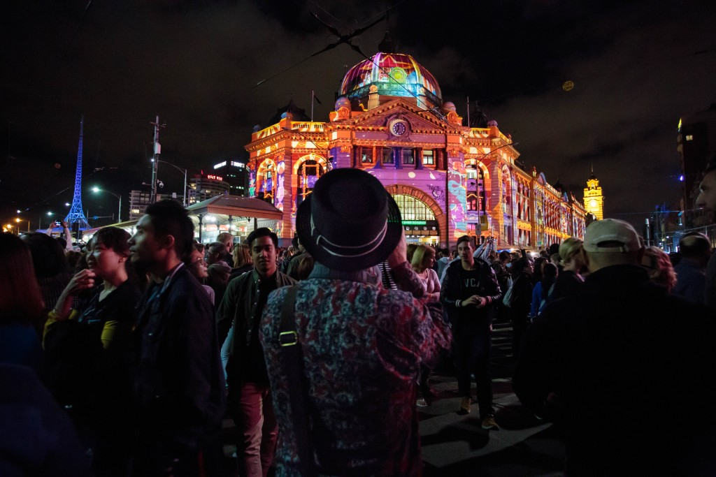 Lit up buildings at White Night Melbourne