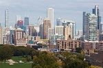 Great view of downtown Chicago from your penthouse rental on Wimdu